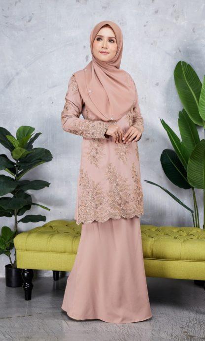 Baju Kurung Moden Sulam Yara02 Nude 4