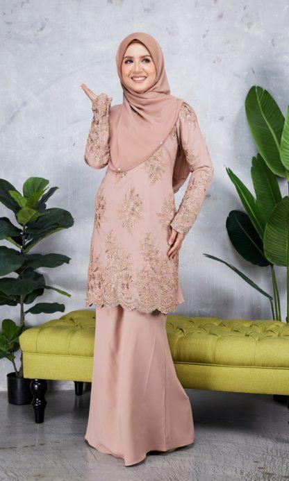 Baju Kurung Moden Sulam Yara02 Nude 5