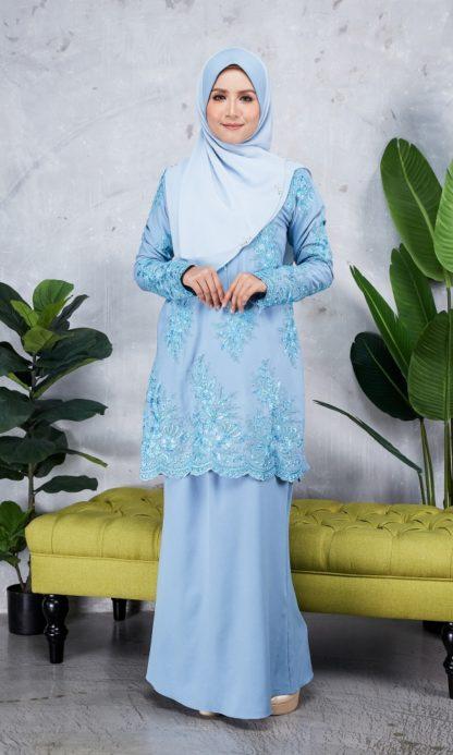 Baju Kurung Moden Sulam Yara03 Baby Blue 2