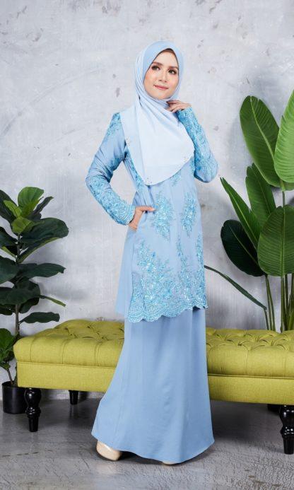 Baju Kurung Moden Sulam Yara03 Baby Blue 5