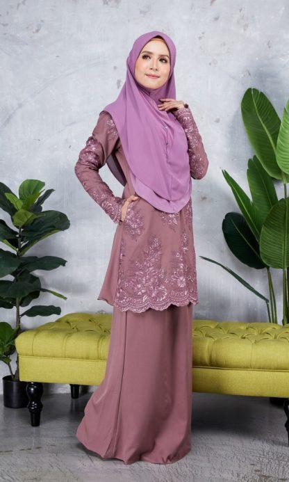 Baju Kurung Moden Sulam Yara01 Grape Purple 1