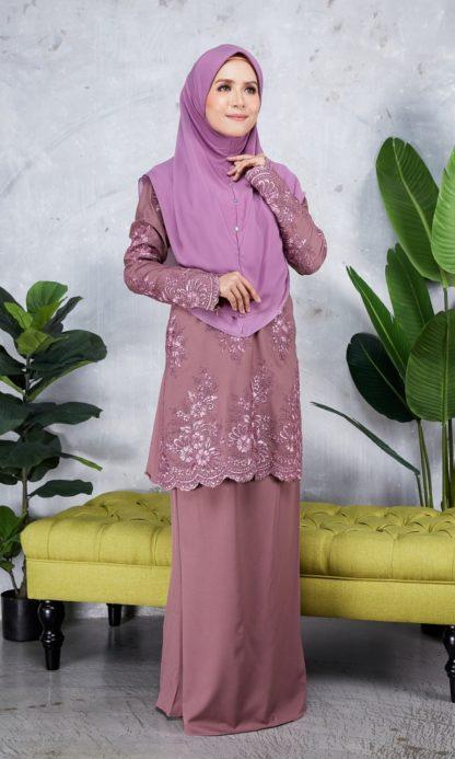 Baju Kurung Moden Sulam Yara01 Grape Purple 2