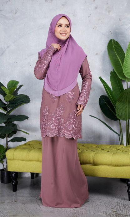 Baju Kurung Moden Sulam Yara01 Grape Purple 3