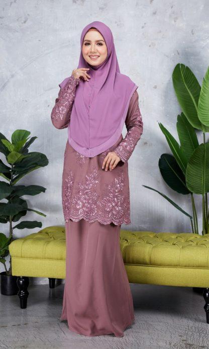 Baju Kurung Moden Sulam Yara01 Grape Purple 4