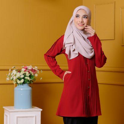 Afya02 Blouse Muslimah Merah Pleated Como Crepe 4