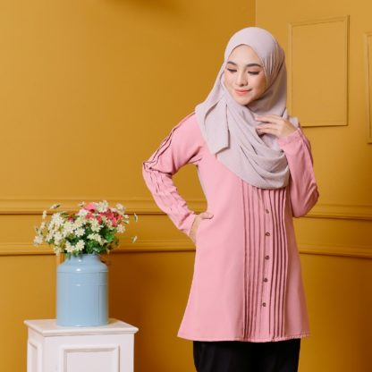 Afya04 Blouse Muslimah Dusty Pink Pleated Como Crepe 2