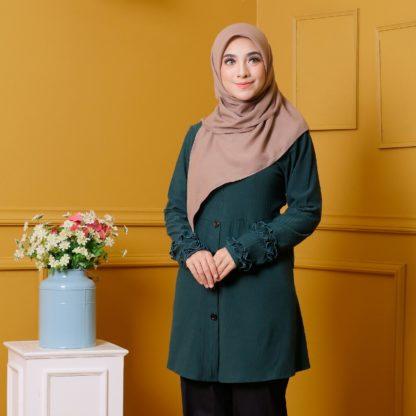 Tania03 Blouse Muslimah Emerald Green Lycra Knit 4