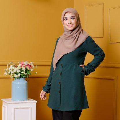 Tania03 Blouse Muslimah Emerald Green Lycra Knit 3