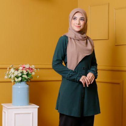 Tania03 Blouse Muslimah Emerald Green Lycra Knit 2