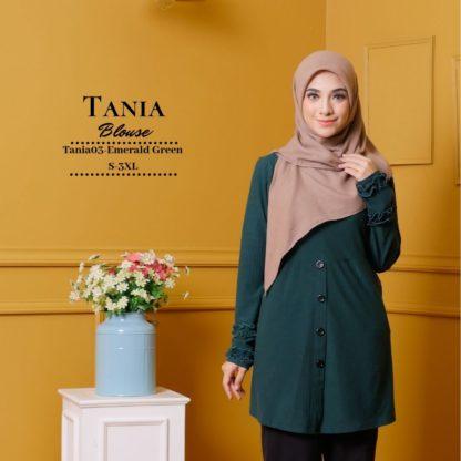 Tania03 Blouse Muslimah Emerald Green Lycra Knit 1