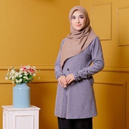 Tania04 Blouse Muslimah Kelabu Lycra Knit 2