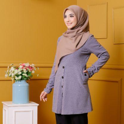 Tania04 Blouse Muslimah Kelabu Lycra Knit 3