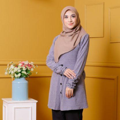 Tania04 Blouse Muslimah Kelabu Lycra Knit 4