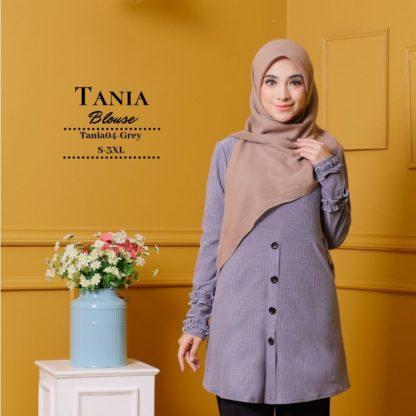 Tania04 Blouse Muslimah Kelabu Lycra Knit 1
