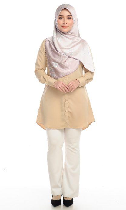 Shira25 Kemeja Wanita Khaki 1