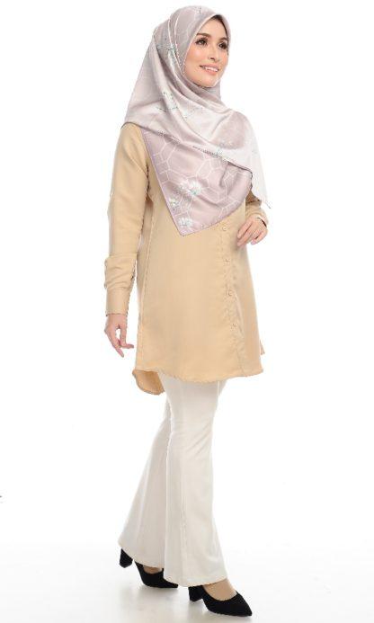 Shira25 Kemeja Wanita Khaki 4