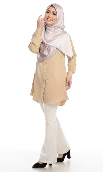 Shira25 Kemeja Wanita Khaki 3