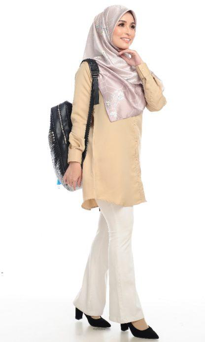 Shira25 Kemeja Wanita Khaki 2