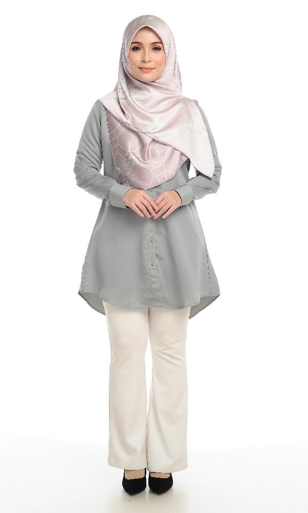 Shira29 Kemeja Wanita Light Grey 14