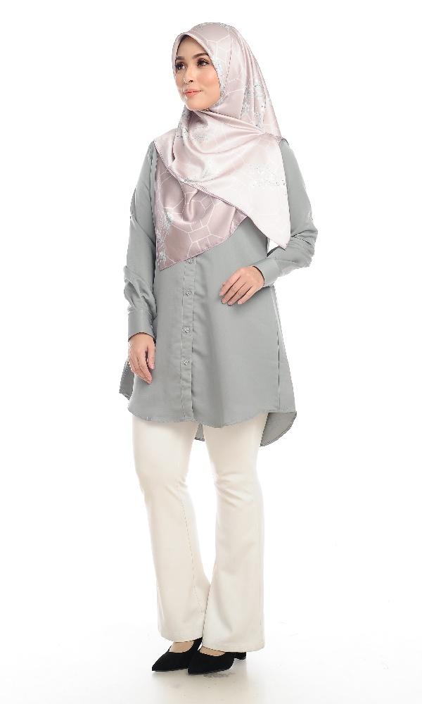 Shira29 Kemeja Wanita Light Grey 15