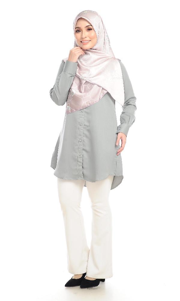 Shira29 Kemeja Wanita Light Grey 10