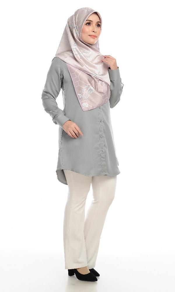 Shira29 Kemeja Wanita Light Grey 11