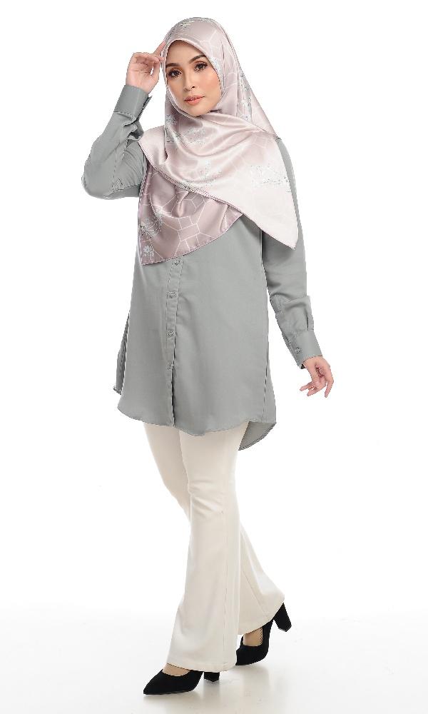 Shira29 Kemeja Wanita Light Grey 12