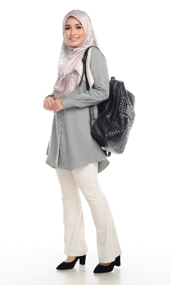 Shira29 Kemeja Wanita Light Grey 19