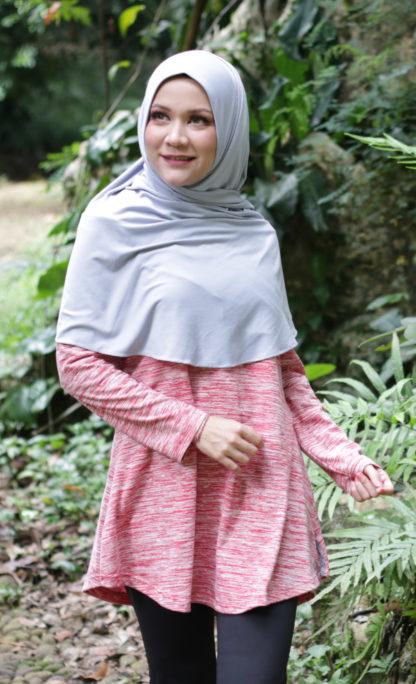 T Shirt Muslimah Haleema H9019A Merah 3