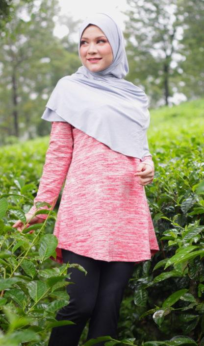 T Shirt Muslimah Haleema H9019A Merah 1