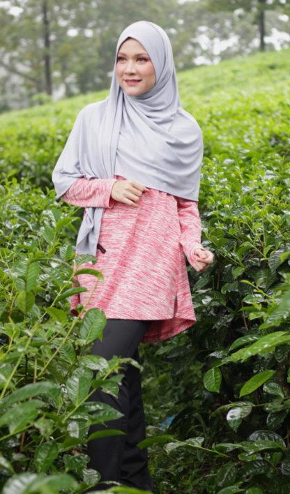 T Shirt Muslimah Haleema H9019A Merah 2