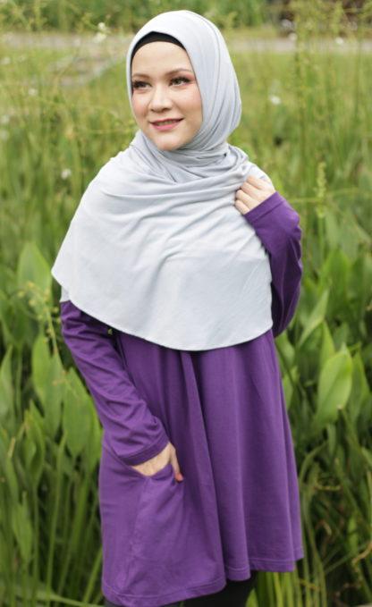 T Shirt Muslimah Haleema H9020A Purple 1