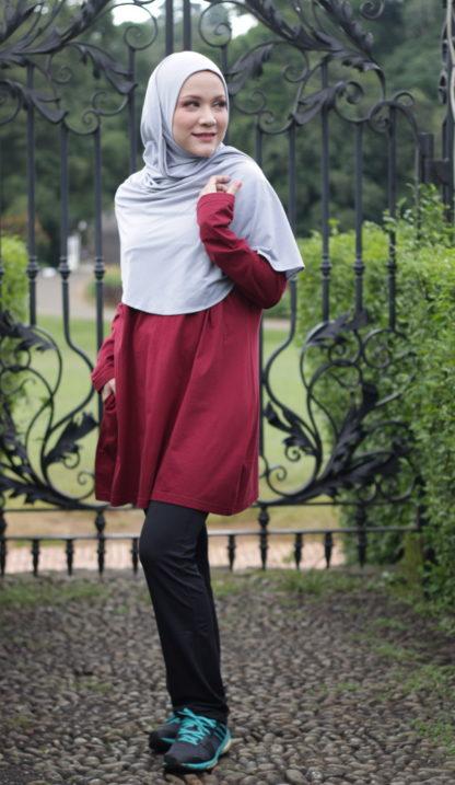 T Shirt Muslimah Haleema H9020B Maroon 3
