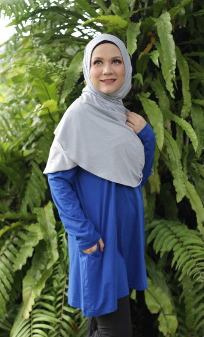T Shirt Muslimah Haleema H9020C Blue 1