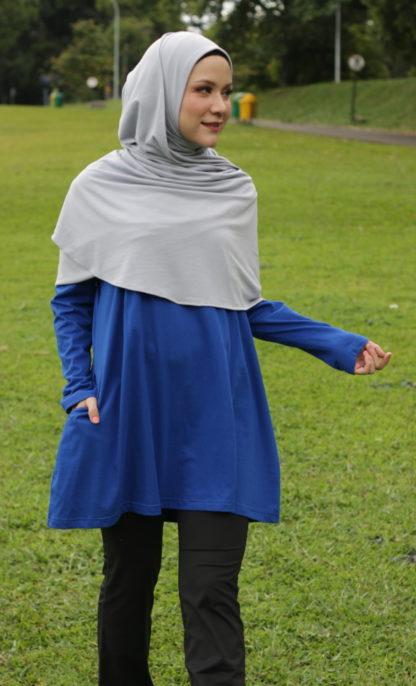 T Shirt Muslimah Haleema H9020C Blue 3