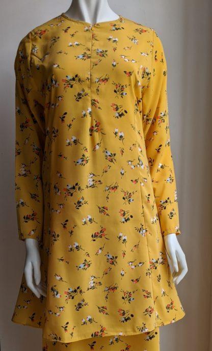 Baju Kurung Riau Bercorak Suria01 Kuning 2