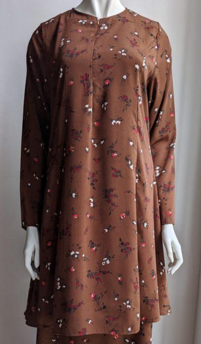 Baju Kurung Riau Bercorak Suria04 Brown 2