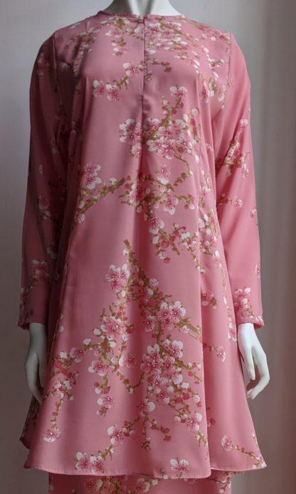 Baju Kurung Riau Bercorak Suria05 Pink 2