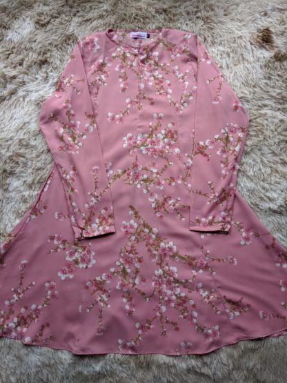Baju Kurung Riau Bercorak Suria05 Pink 3