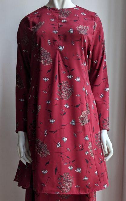 Baju Kurung Riau Bercorak Suria06 Merah Hati 2