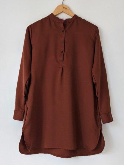 Maira03 Kemeja Wanita Half Button Dark Brown 1