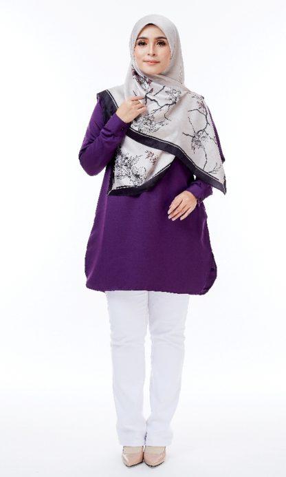 Maira04 Kemeja Wanita Half Button Dark Purple 1