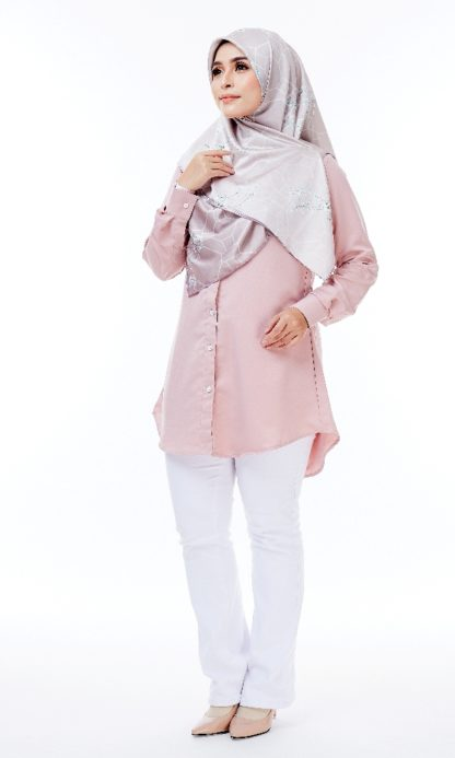 Shira31 Kemeja Wanita Light Pastel Pink 2