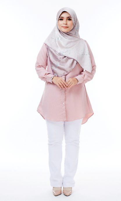 Shira31 Kemeja Wanita Light Pastel Pink 1